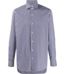 barba striped spread-collar shirt - blue