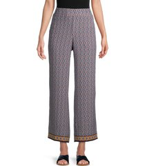 max studio women's crepe wide-leg pants - navy multi - size xl