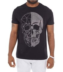 heads or tails 3d graphic printed skull rhinestone studded t-shirt