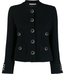 alessandra rich tailored decorative button jacket - black