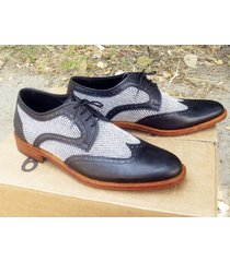 handmade stitched leather tweed oxford shoes office business tuxedo dress shoe