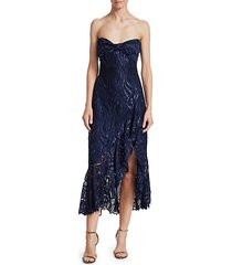 metallic lace strapless bustier ruffled midi dress