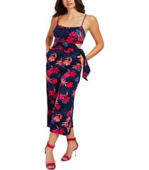 guess printed side-cutout sleeveless jumpsuit