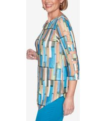 alfred dunner women's colorado springs geometric top
