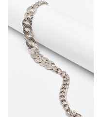 womens do the right bling contrast chain necklace - silver