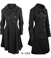 fashion women lady button closure irregular hem long trench coat black cloak win