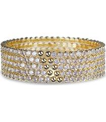 cz by kenneth jay lane women's trend 14k goldplated & crystal cuff bracelet