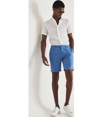 reiss ezra - cotton linen blend shorts in bright blue, mens, size 38