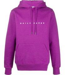daily paper logo print hoodie - purple