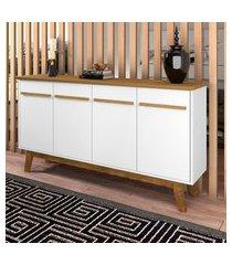 aparador buffet opala móveis bechara 4 portas 2 prateleiras branco