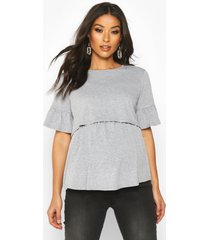 maternity nursing smock top, light grey