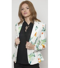 blazer floreado basic design blanco 609 seisceronueve
