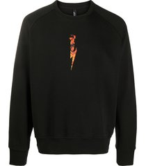 neil barrett flames logo print sweatshirt - black
