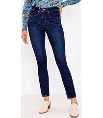loft curvy mid rise skinny jeans in classic dark indigo wash