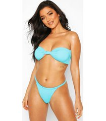 twist knotted bandeau string high leg bikini, blue