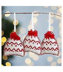 wool ornaments, 'alabaster hats' (set of 3) (peru)