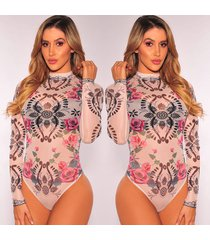 women long sleeve ribbed bodysuit jumpsuit leotard top blouse floral rompers