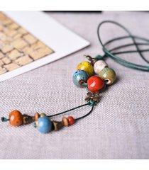 collana retrò in ceramica di bohemian ceramics collana lunga stile classico con nappe