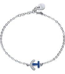 bracciale in acciaio con charm ancora blu e strass per donna