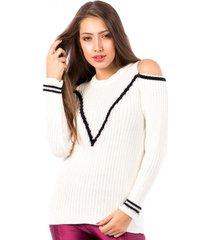 blusa tricot carlan venus vacani decote redondo bege