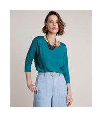 blusa feminina ampla básica manga 7/8 decote redondo verde
