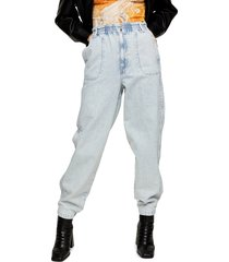 women's topshop elastic waist baggy jeans, size 28w x 30l (fits like 27w) - blue