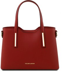 tuscany leather tl141521 olimpia - borsa shopper in pelle - misura piccola rosso
