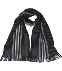black scarf with goji stripe pattern