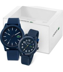 lacoste men's 12.12 blue silicone strap watch, 44mm gift set