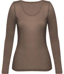 enna, biologisch zijden shirt met lange mouwen, taupe 44/46
