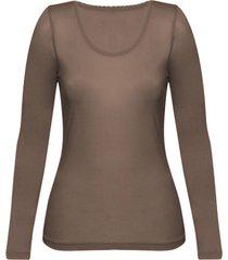 enna, biologisch zijden shirt met lange mouwen, modder 34