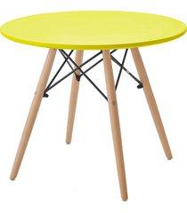 mesa eiffel inf. tp mdf amarela base madeira rivatti móveis
