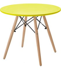 mesa eiffel inf. tp mdf amarela base madeira rivatti - amarelo - dafiti