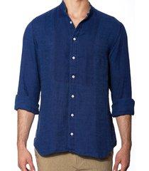blue denim linen man shirt korean collar