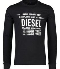 diesel t-shirt lange mouw zwart