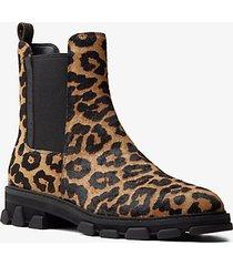 mk stivaletto ridley in pelle effetto cavallino stampa leopardo - naturale (naturale) - michael kors