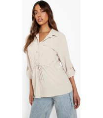 blouse met textuur en zak detail, sand
