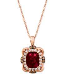 "le vian raspberry rhodolite (3-1/6 ct. t.w.) & diamond (5/8 ct. t.w.) 18"" pendant necklace in 14k rose gold"