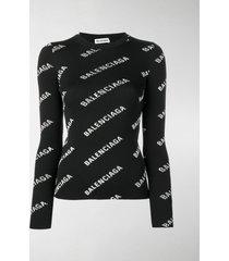 balenciaga logo print ribbed sweater