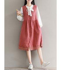 abiti da donna senza maniche con scollo a v in patchwork di pizzo vintage