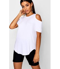basic cold shoulder curved hem t-shirt, white