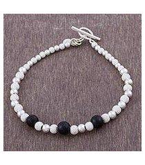 obsidian beaded bracelet, 'black glimmer' (peru)