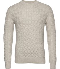 slhbenno cable crew neck w gebreide trui met ronde kraag wit selected homme