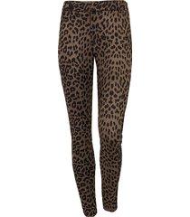 low waist suede leopard broek groen