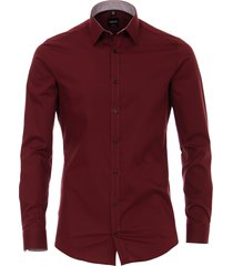 venti heren overhemd bordeaux contrast poplin kent body fit