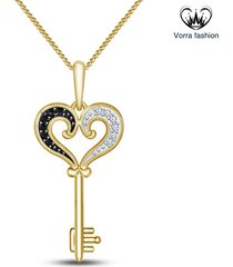 heart shape key pendants with chain for womens 14k yellow gold plated 925 silver