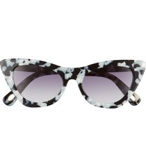 women's lele sadoughi downtown 50mm gradient cat eye sunglasses - black marble