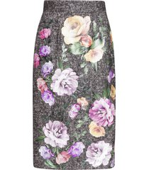 dolce & gabbana tweed midi skirt with laminated flower patches