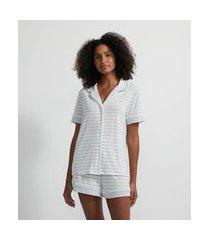 pijama blusa manga curta e short listrado | lov | cinza claro | gg