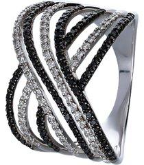anello in oro bianco con diamanti bianchi e neri 0,198 ct per donna